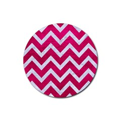 Chevron9 White Marble & Pink Leather Rubber Round Coaster (4 Pack)