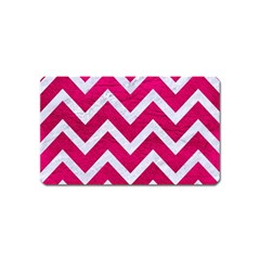 Chevron9 White Marble & Pink Leather Magnet (name Card)