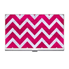 Chevron9 White Marble & Pink Leather Business Card Holders