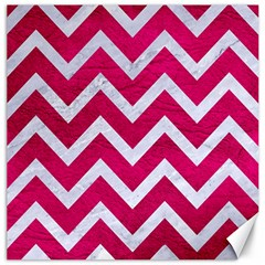 Chevron9 White Marble & Pink Leather Canvas 12  X 12