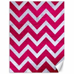Chevron9 White Marble & Pink Leather Canvas 18  X 24