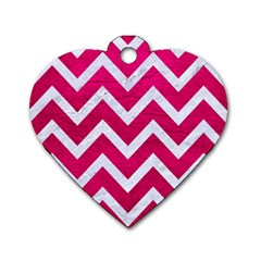 Chevron9 White Marble & Pink Leather Dog Tag Heart (two Sides)