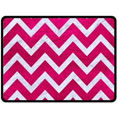 Chevron9 White Marble & Pink Leather Fleece Blanket (large)  by trendistuff