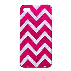 Chevron9 White Marble & Pink Leather Apple Iphone 4/4s Seamless Case (black)