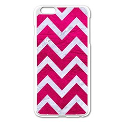 Chevron9 White Marble & Pink Leather Apple Iphone 6 Plus/6s Plus Enamel White Case