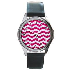 Chevron3 White Marble & Pink Leather Round Metal Watch