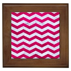 Chevron3 White Marble & Pink Leather Framed Tiles