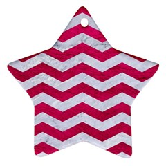 Chevron3 White Marble & Pink Leather Ornament (star)