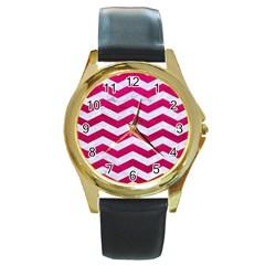 Chevron3 White Marble & Pink Leather Round Gold Metal Watch by trendistuff