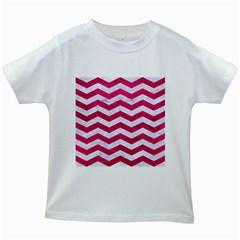 Chevron3 White Marble & Pink Leather Kids White T Shirts