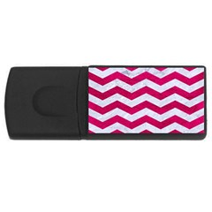 Chevron3 White Marble & Pink Leather Rectangular Usb Flash Drive