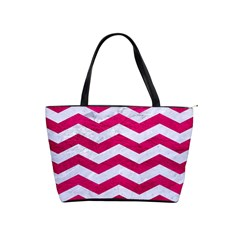Chevron3 White Marble & Pink Leather Shoulder Handbags
