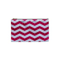Chevron3 White Marble & Pink Leather Cosmetic Bag (small)  by trendistuff