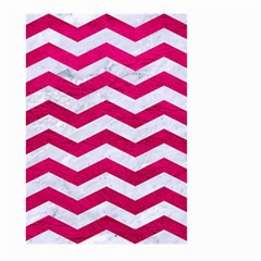 Chevron3 White Marble & Pink Leather Large Garden Flag (two Sides) by trendistuff