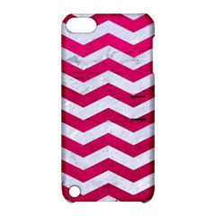 Chevron3 White Marble & Pink Leather Apple Ipod Touch 5 Hardshell Case With Stand