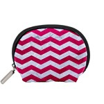 CHEVRON3 WHITE MARBLE & PINK LEATHER Accessory Pouches (Small)  Front