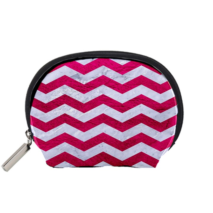 CHEVRON3 WHITE MARBLE & PINK LEATHER Accessory Pouches (Small)