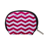 CHEVRON3 WHITE MARBLE & PINK LEATHER Accessory Pouches (Small)  Back