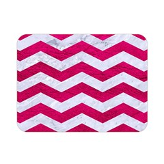 Chevron3 White Marble & Pink Leather Double Sided Flano Blanket (mini)  by trendistuff