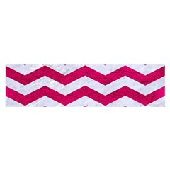 Chevron3 White Marble & Pink Leather Satin Scarf (oblong)