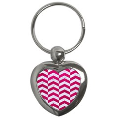 Chevron2 White Marble & Pink Leather Key Chains (heart)