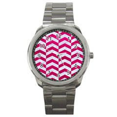 Chevron2 White Marble & Pink Leather Sport Metal Watch