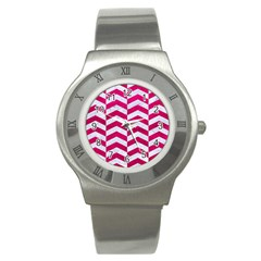 Chevron2 White Marble & Pink Leather Stainless Steel Watch