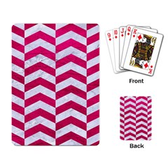 Chevron2 White Marble & Pink Leather Playing Card by trendistuff