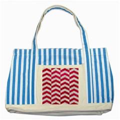 Chevron2 White Marble & Pink Leather Striped Blue Tote Bag