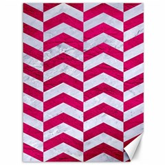 Chevron2 White Marble & Pink Leather Canvas 36  X 48