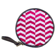Chevron2 White Marble & Pink Leather Classic 20 Cd Wallets