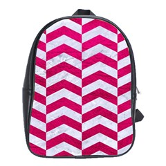 Chevron2 White Marble & Pink Leather School Bag (xl)
