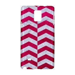 Chevron2 White Marble & Pink Leather Samsung Galaxy Note 4 Hardshell Case