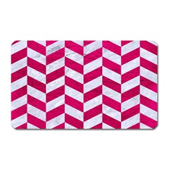 Chevron1 White Marble & Pink Leather Magnet (rectangular)