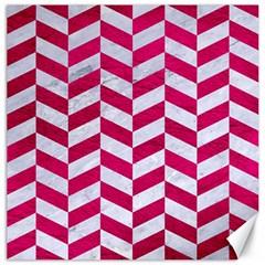 Chevron1 White Marble & Pink Leather Canvas 12  X 12