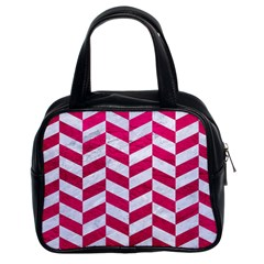 Chevron1 White Marble & Pink Leather Classic Handbags (2 Sides) by trendistuff