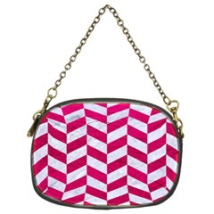 Chevron1 White Marble & Pink Leather Chain Purses (two Sides)  by trendistuff