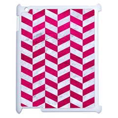 Chevron1 White Marble & Pink Leather Apple Ipad 2 Case (white) by trendistuff