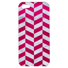 Chevron1 White Marble & Pink Leather Apple Iphone 5 Hardshell Case by trendistuff
