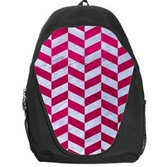 Chevron1 White Marble & Pink Leather Backpack Bag