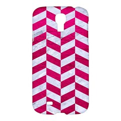 Chevron1 White Marble & Pink Leather Samsung Galaxy S4 I9500/i9505 Hardshell Case