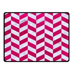 Chevron1 White Marble & Pink Leather Double Sided Fleece Blanket (small)