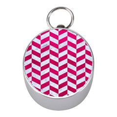 Chevron1 White Marble & Pink Leather Mini Silver Compasses