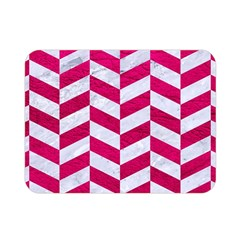 Chevron1 White Marble & Pink Leather Double Sided Flano Blanket (mini)