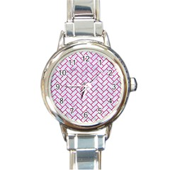 Brick2 White Marble & Pink Leather (r) Round Italian Charm Watch