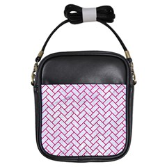 Brick2 White Marble & Pink Leather (r) Girls Sling Bags