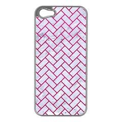 Brick2 White Marble & Pink Leather (r) Apple Iphone 5 Case (silver) by trendistuff