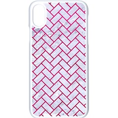 Brick2 White Marble & Pink Leather (r) Apple Iphone X Seamless Case (white)