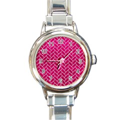 Brick2 White Marble & Pink Leather Round Italian Charm Watch