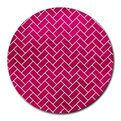 Brick2 White Marble & Pink Leather Round Mousepads